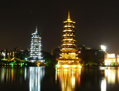 Guilin, Sonnen-Pagode und Mond-Pagode