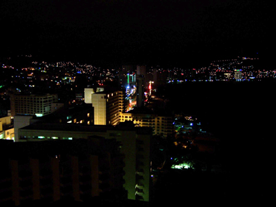 Acapulco, Crown Plaza, Skyline vom 26. Stockwerk aus